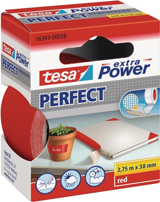 Textielversterkte tape 56343 lengte 2,75m B. 38mm rood celwolweefsel TESA