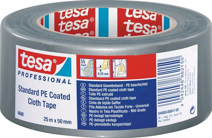 Text.verst. tape tesaband 4688 lengte 50m B. 50mm zwart m.PE-coating rl TESA