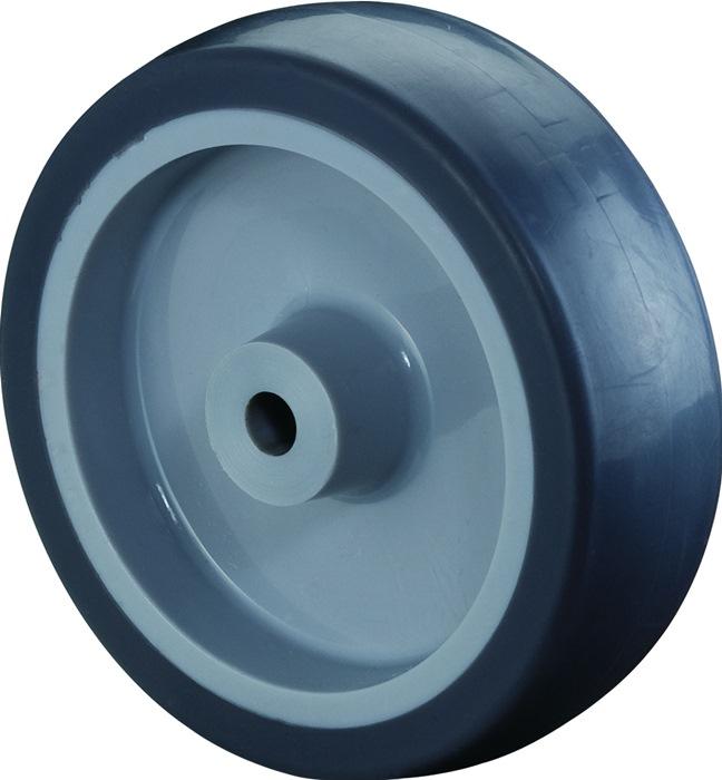 Wiel diameter 75mm, boring 6mm rubberen wiel (blauwgrijs) bij A80 BS ROLLEN