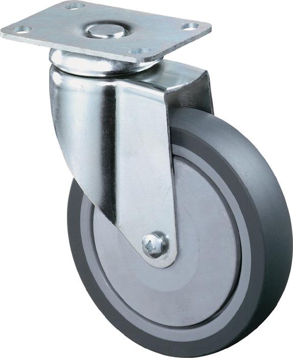 Zwenkwiel d.80mm, draagvermogen 80kg rubberen wiel grijs plaat 94x64mm BS ROLLEN