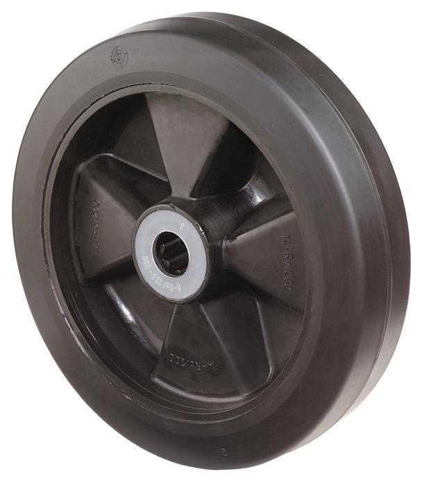 Wl bij B60 dia. 160mm drgv. 250kg elast. banden v. mass. rubber breedte 50mm