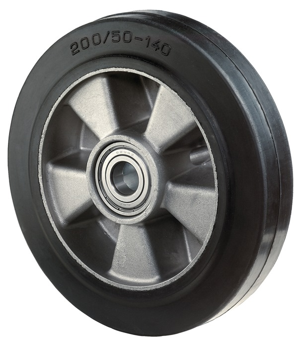 Wl d.125mm drgv. 180kg elastisch-massief rubber-Wl naafl. 40mm