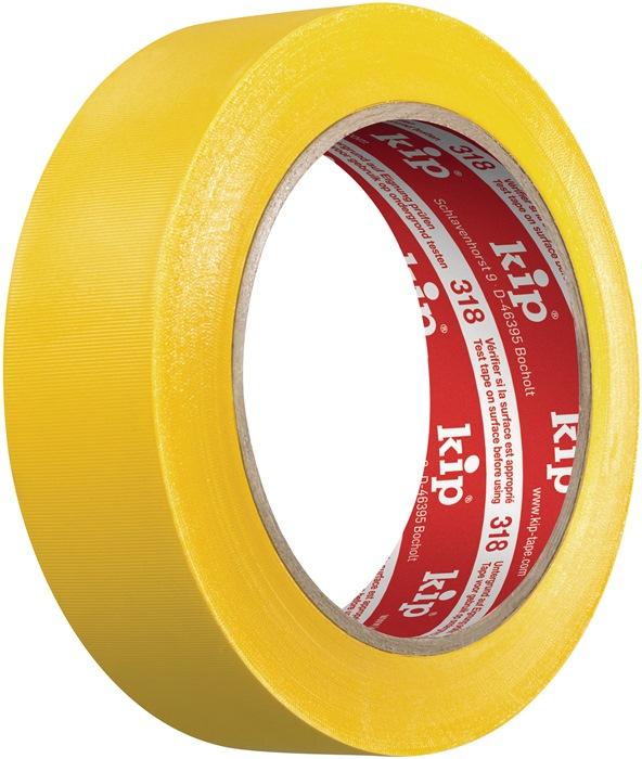 Beschermband 318 lengte 33m B. 50mm geel zacht-pvc-folie rol KIP