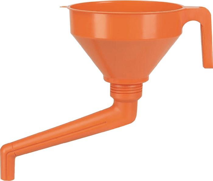 Trechter PE - orange - d.160mm inhoud 1,3l pvc met zeef met hoekuitloop PRESSOL