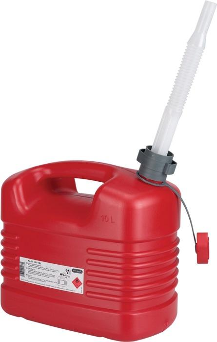 Brandstofjerrycan Inhoud 10l schenktuit tuit-D. 20mm/L.195mm rood