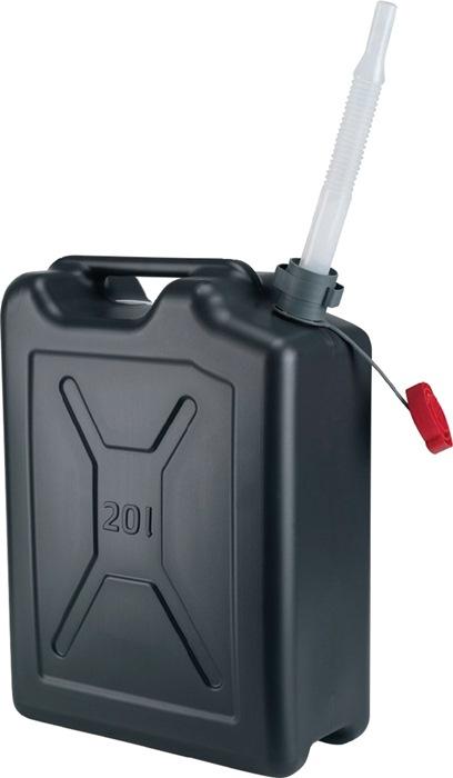 Brandstofjerrycan 20L polyethyleen zwart BAM/RKK,,UN 20l zwart