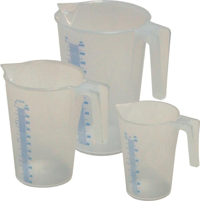 Maatbeker kunststof, PP, set 3-delig 0,5 / 1 / 2 Liter transparant set MATO