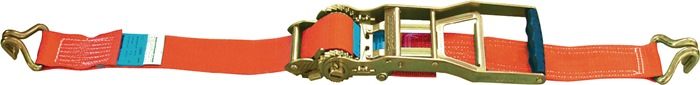 Sjorta. EN12195-2 L8m B50mm LC:2500daN rnd hk ratel lange gr. omsn. 5000daN/kg