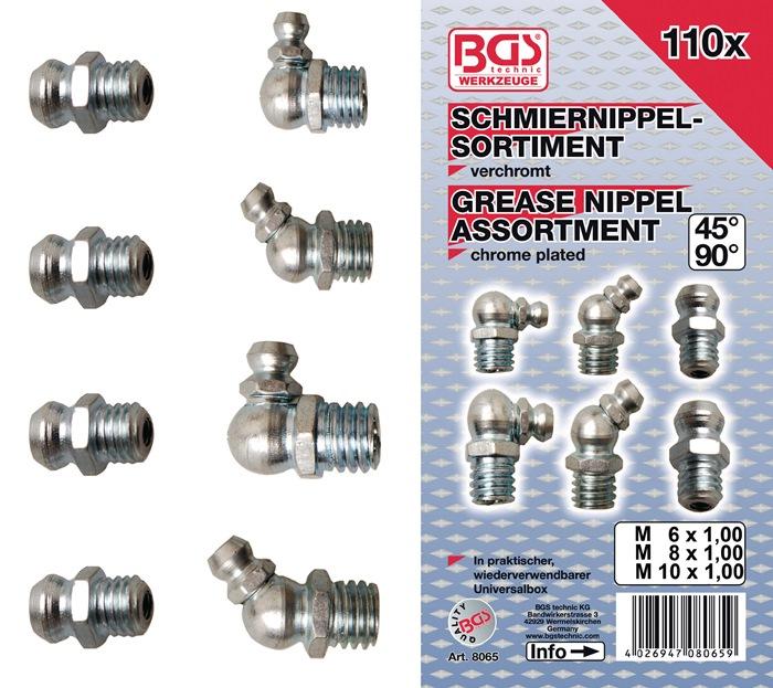 Smeernippel-assortiment recht 110-dlg. 110-dlg. 6x1,8x1,25,10x1,5 BGS