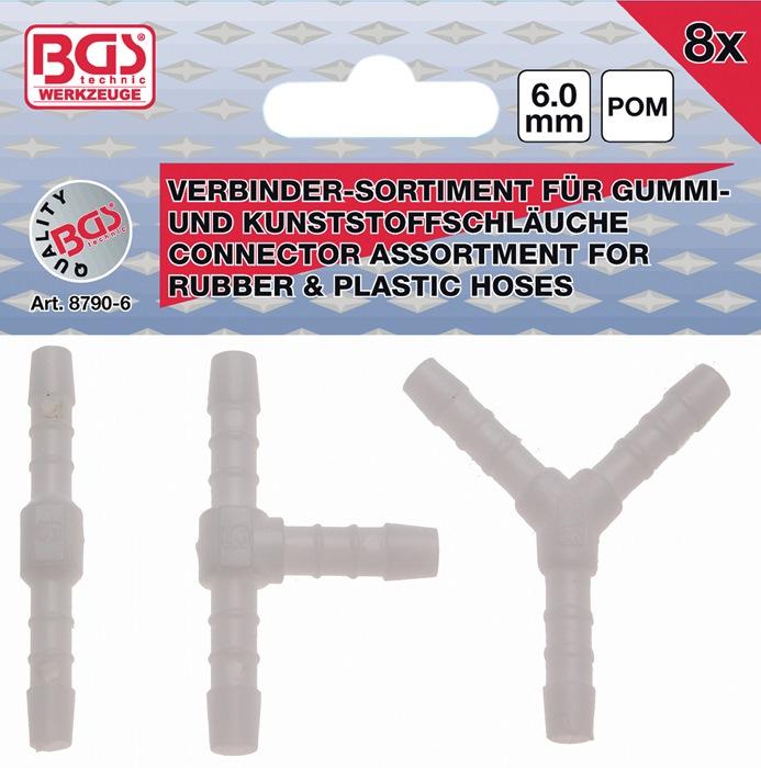 Slangverbinder-assortiment 8-dlg. I,T,Y 6 mm BGS