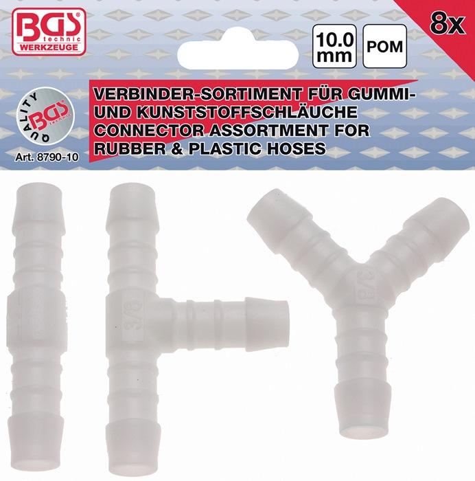 Slangverbinder-assortiment 8-dlg. I,T,Y 10 mm BGS