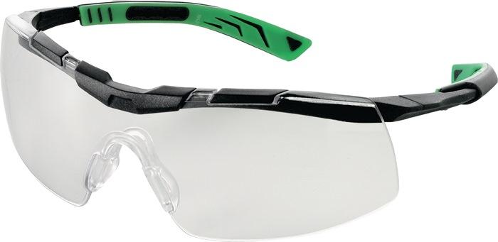 veilbr DIN/EN166 Glas helder, pt gunmetallic/groen bekl AntiFog+AntiScratch 5X6