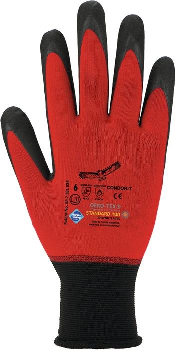 Fijne tricotage-handschoen Condor-T EN388 cat.II mt.8 met nitril-microschuim