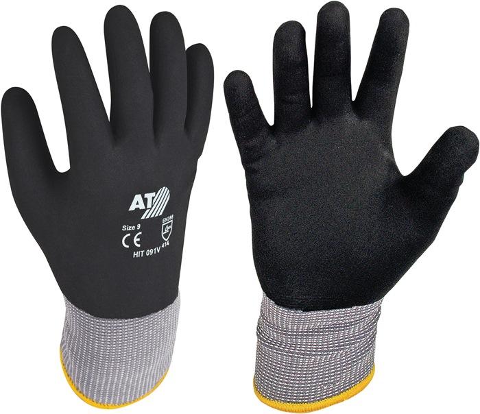 Winterhandschoen mt10 op SB-kaart kat./acryl badstofstof m.HPT-coating zwart