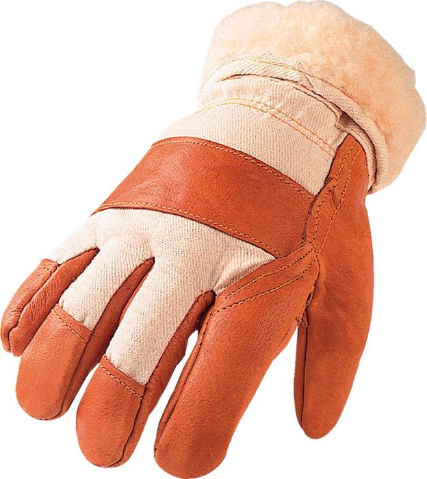 Handschoen mt10 1/2 Standaard meubelleer donker m.teddyvoering palmverst. 6p