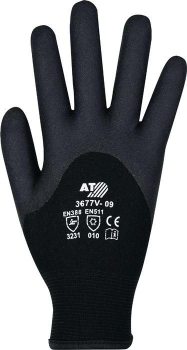 Winterhandschoen EN388 EN511 mt10 kat./acryl badstofstof m.HPT-coating zwart 6p