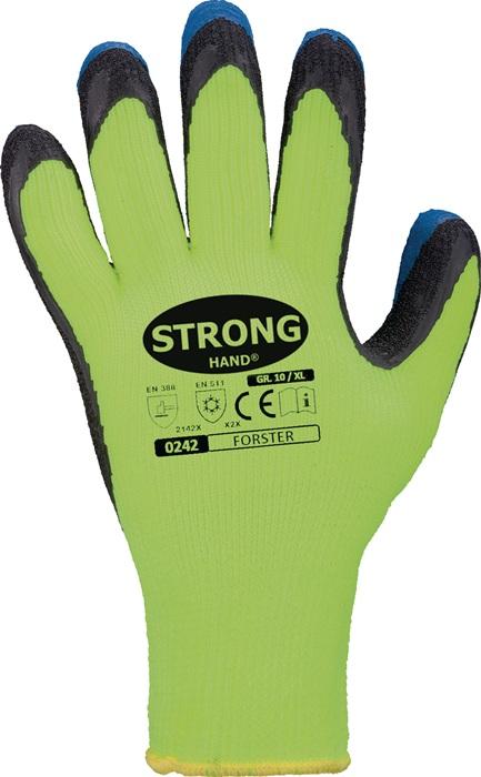 Handschoen Forster nr.0242 mt11krimp-latex dub.zwart blauw grofgebr.naadloos 12p