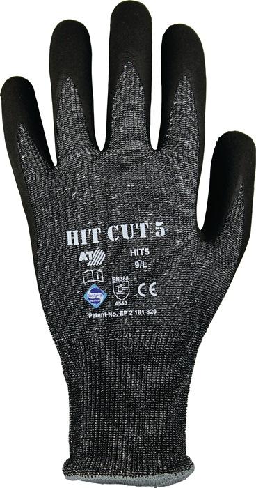 Snijhandschoen EN388cat.II HIT Cut 5 mt.10 nitril-microschuim grijs/zwart 12p