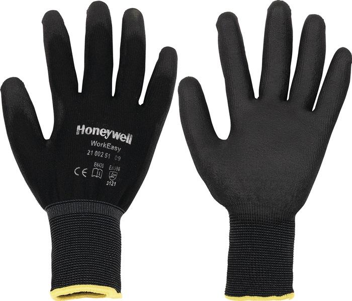 Handschoenen mt.8 Workeasy Black PU EN388 PES m.PU-coating zwart