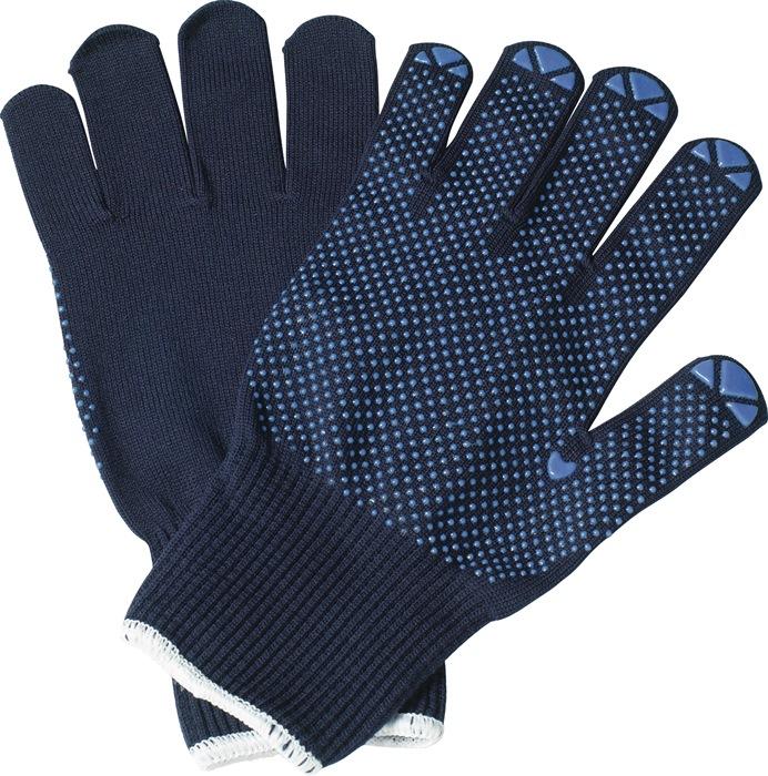 Tricotage-handschoen Isar mt.9 katoen blauw eenzijdig blauw genopt