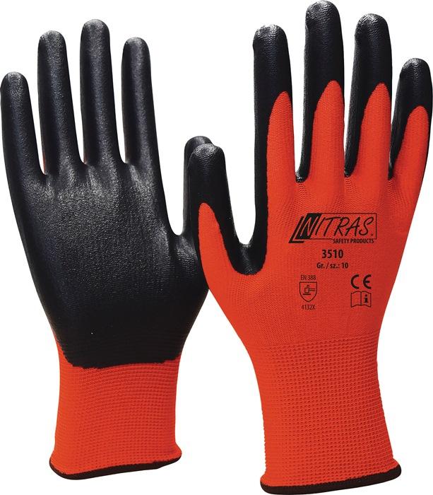 Handschoen Nitril Foam mt10 100%PA,wit,nitrilcoat.grijs adem. goede stroefh. 12p