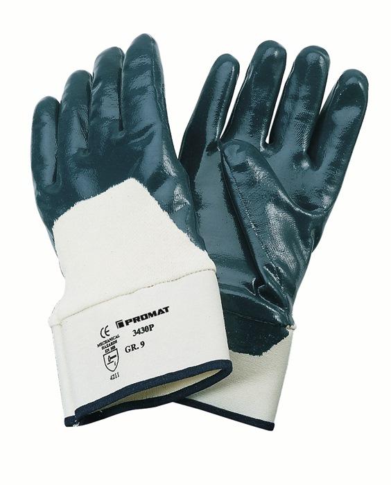 Handschoen Neckar mt10 nitrilcoating blauw m.veiligheidsmanchet 12p
