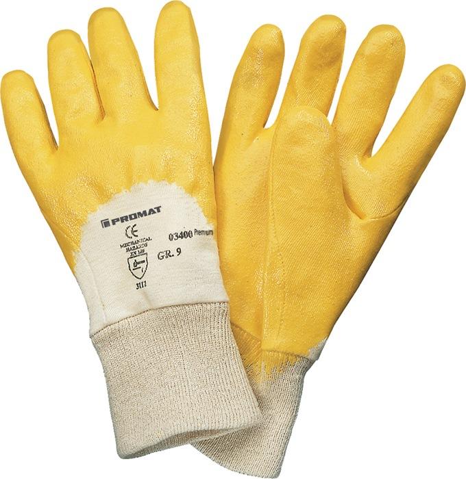 Handschoen Ems mt10 Premium deels m.nitrilcoating geel m.aantrekk.12p