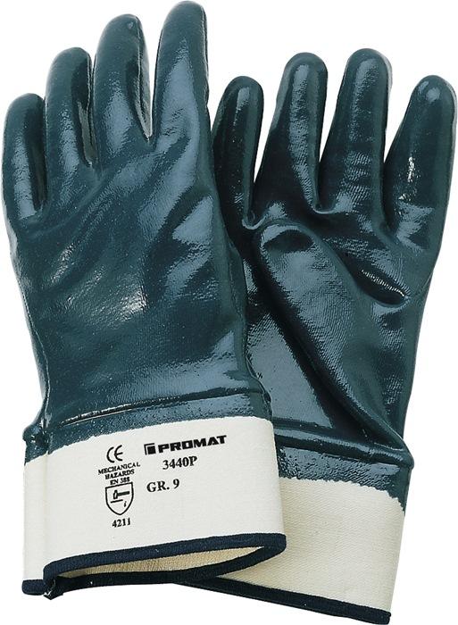 Handschoen Neckar mt10 volledige nitrilcoating blauw m.veiligheidsmanchet 12p