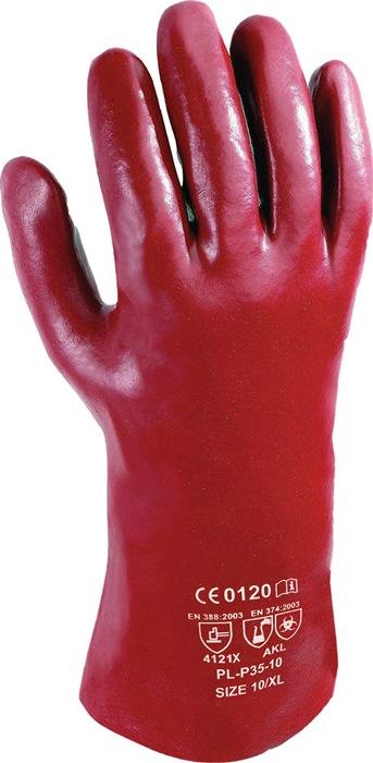 Handschoenen EN388 cat. II mt. 10 roodbruin, pvc 350mm lang 12 paar AT