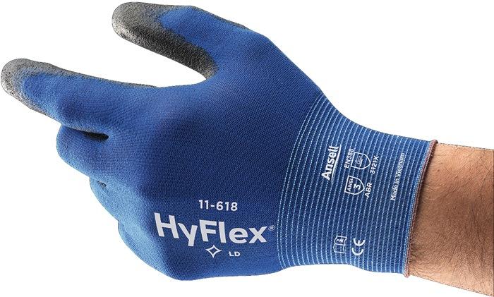 Handschoen HyFlexw-nr11-618 mt10 nylon m.PUcoating zwart gebr.band handp.gev.12p