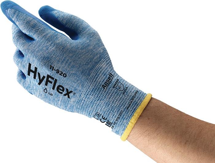 Handschoen EN388 cat.II HyFlex 11-920 mt.9 nylon met nitril blauw