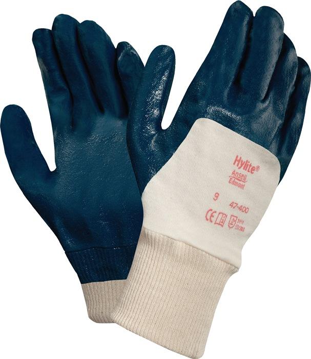 Handschoen EN388 cat.II HyLite 47-400 mt.9 gebreid m.3/4 nitril wit/blauw