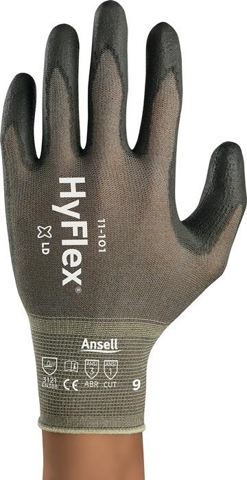 Handschoen EN388 cat.II HyFlex 11-101 mt.10 polyamide/kopervezel m.PU-laag grijs