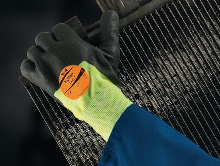 Handschoen HyFlex11-427 mt9 gebr.m.PU- & nitrilc.grijs/heldergeel siliconenv.12p