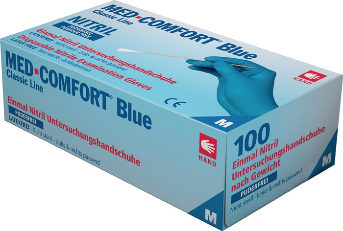 Nitril handschoen EN420 EN374 EN455 mt.xL nitril poedervr.past re. & li. 100/box