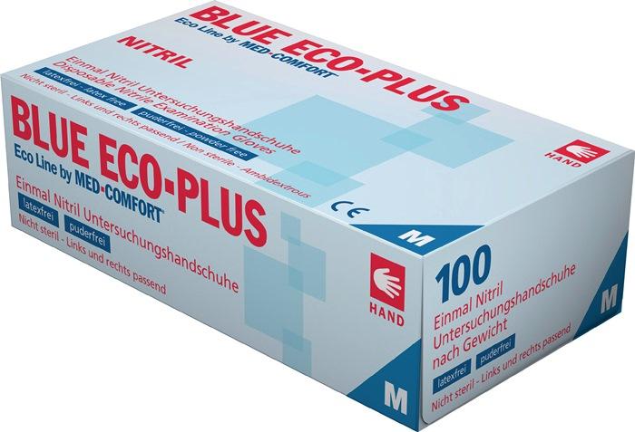 Nitril wegwerphandschoen EN420 EN455 L Blue Eco Plus poedervrij blauw 100st/doos