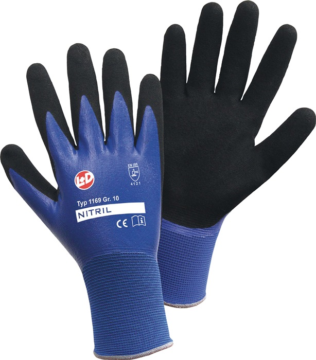 Handschoenen EN388cat.II 1169 mt.9 nylon m.dubbel nitrilcoating blauw zwart 12p
