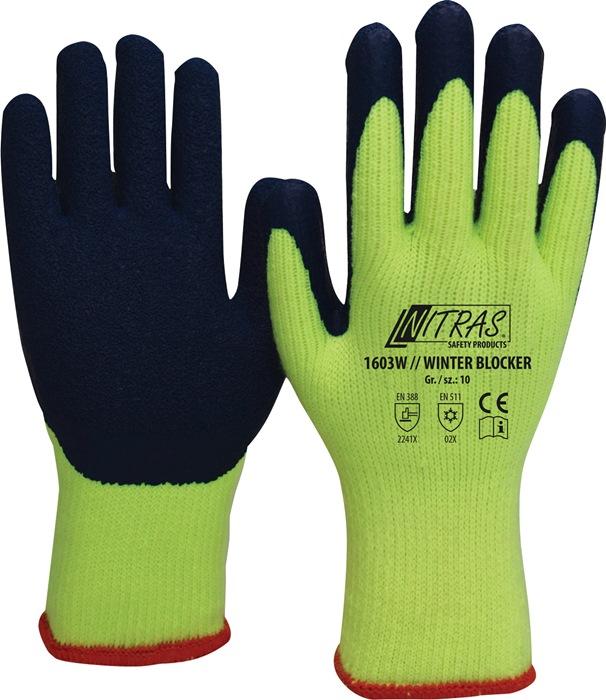 Handschoen WINTERBLOCKER EN388 EN511 mt.10 katoen geel latex, deels gecoat blauw