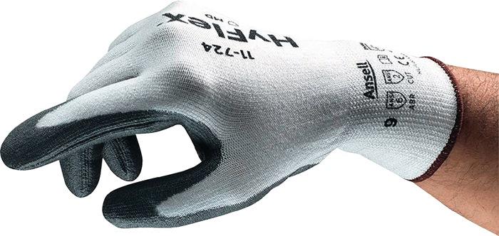 Handschoen HyFlex® 11-724 mt8 HPPE vezel PUcoat.snijbesch.niveau 3 wit/grijs 12p