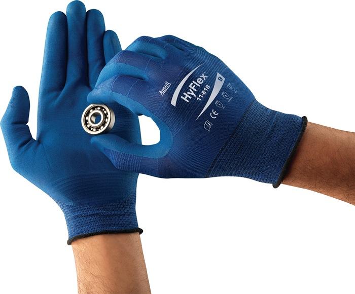 Handschoen EN388 cat.II HyFlex 11-818 mt.10 nylon m.nitrilschuim blauw