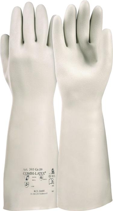 Latexhandschoenen EN374,388cat.III Combi-Latexf.nr.395 mt.9 latex beige L 400mm