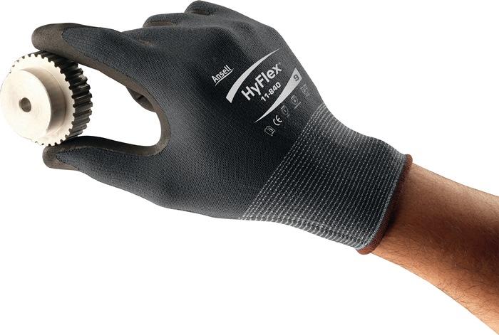 Handschoen EN388 cat.II HyFlex 11-818 mt.9 nylon m.nitrilschuim zwart