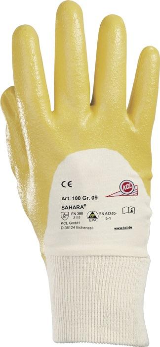Handschoen Sahara 100 mt.7 geel nitril l250mm KCL met gebreid manchet