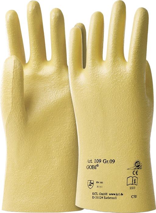 Handschoen Gobi 109 mt.10 nitril katoen tricotage KCL geel