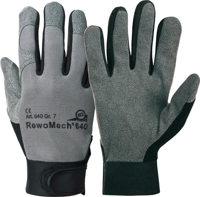 Werkhandschoen RewoMech fab.nr640 mt10 kunstl.m.klittenb.rug v.licht rekb.tex10p