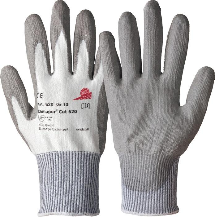 PU-handschoen Camapur Cut 620 mt.9 l240mm KCL wit/grijs snijbesch.niveau 3