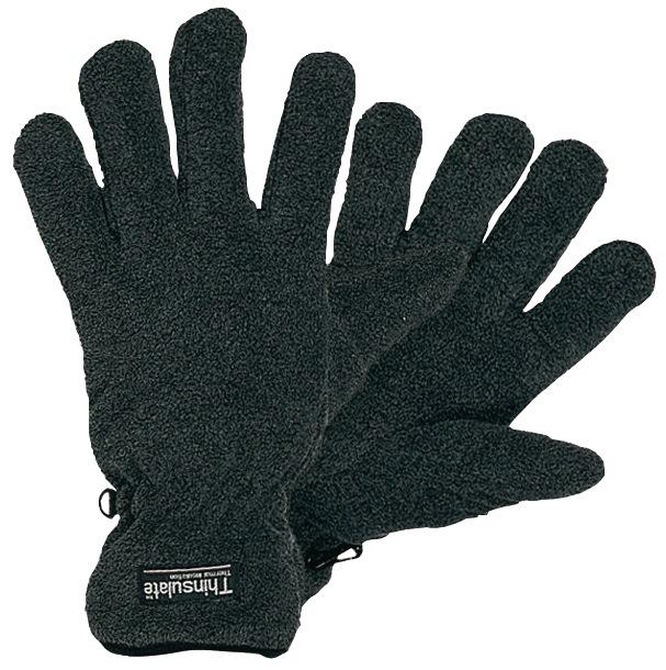 Fleece-handschoenen mt.XXL zwart/grijs 100% polyester-fleece 12 paar