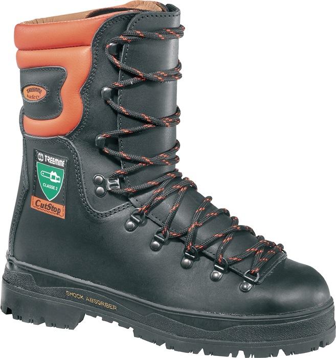 Snijbestendige laarzen S3 EN17249 HRO KL 2 mt.45 leer zwart/oranje g.-20gr.
