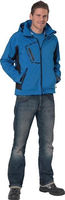 Herensoftshelljack met capuchon mt.XXXL ijsblauw/zwart