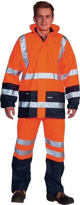 Zichtbaarheidsregenjack EN20471 klasse 3 mt.L oranje/marine stretch